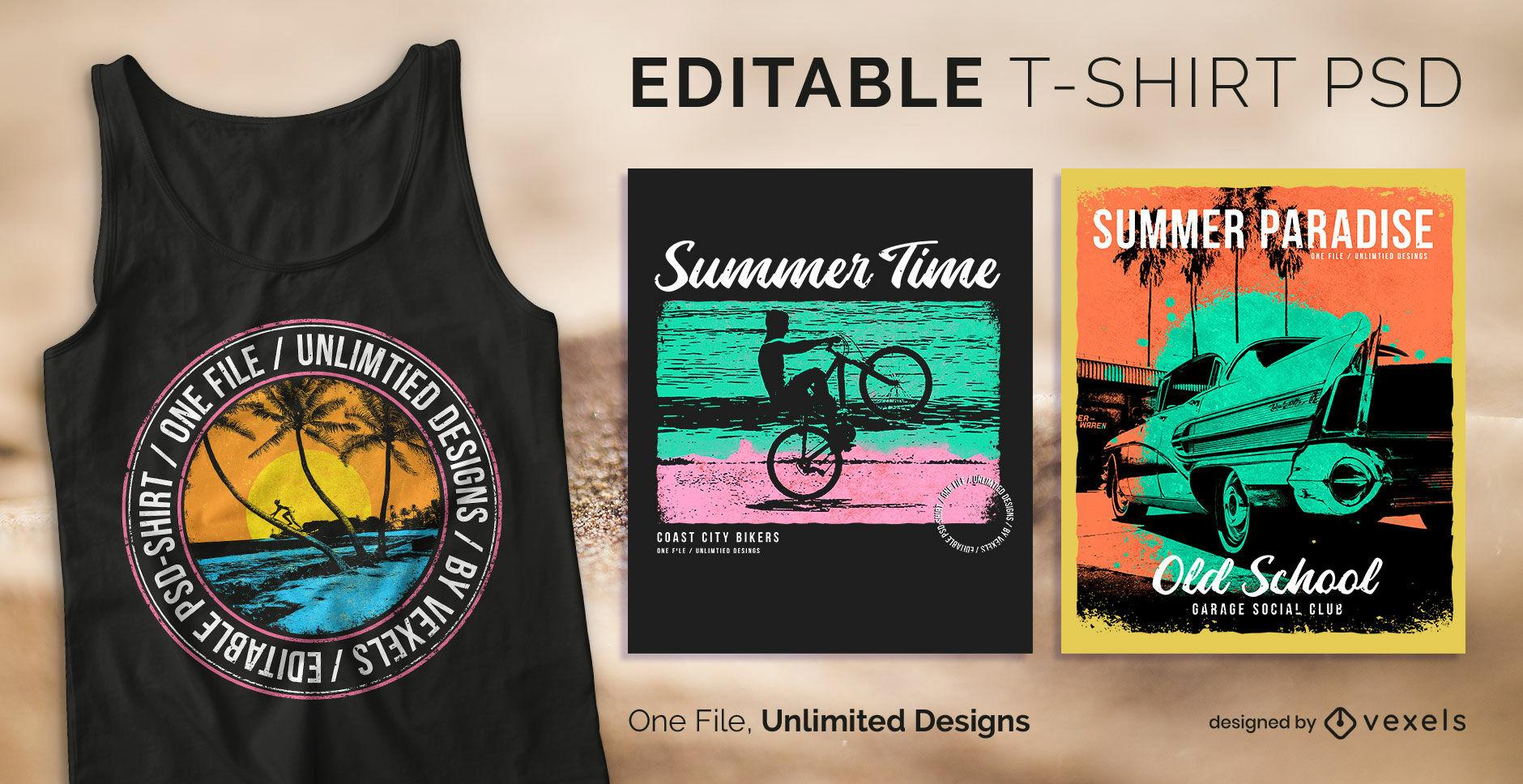 Strand Sommer Abzeichen skalierbares T-Shirt PSD