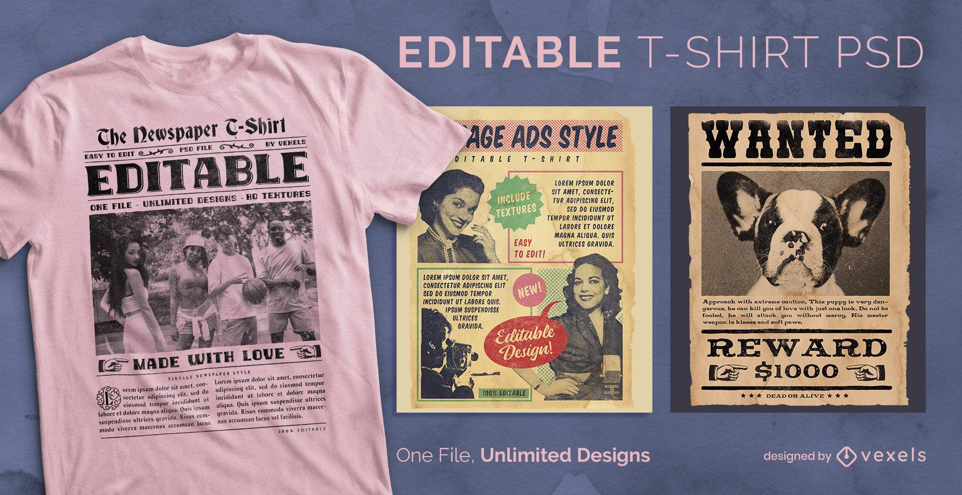 Camiseta escalable peri?dico vintage psd