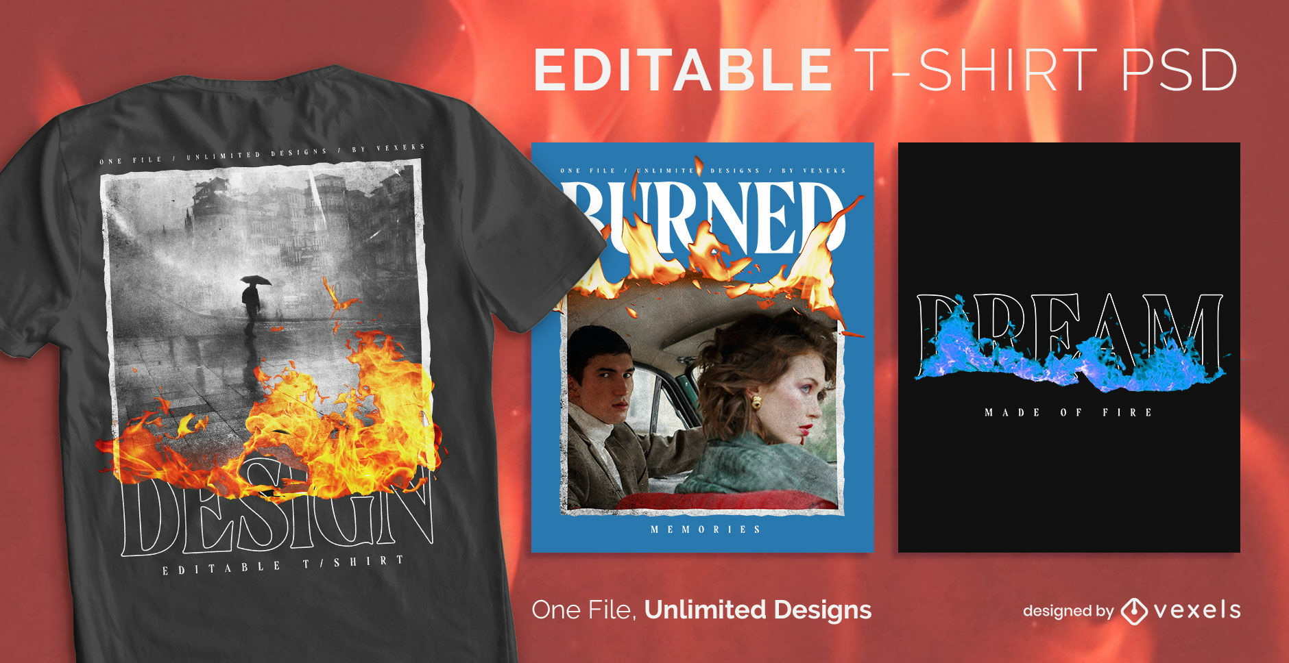 Burning text and image scalable t-shirt psd