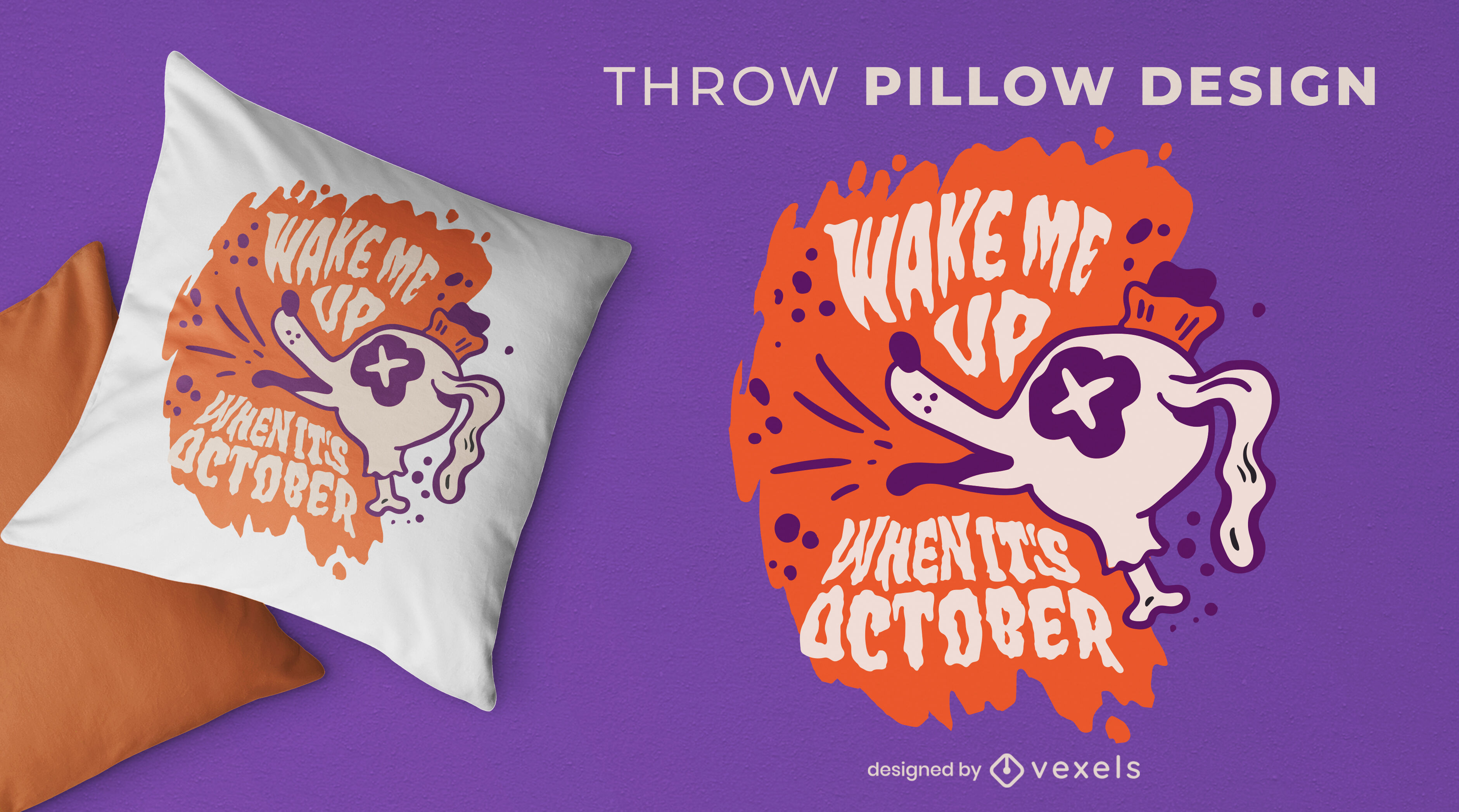 Halloween zombie dog quote throw pillow