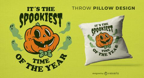 Spooky halloween pumpkin throw pillow design