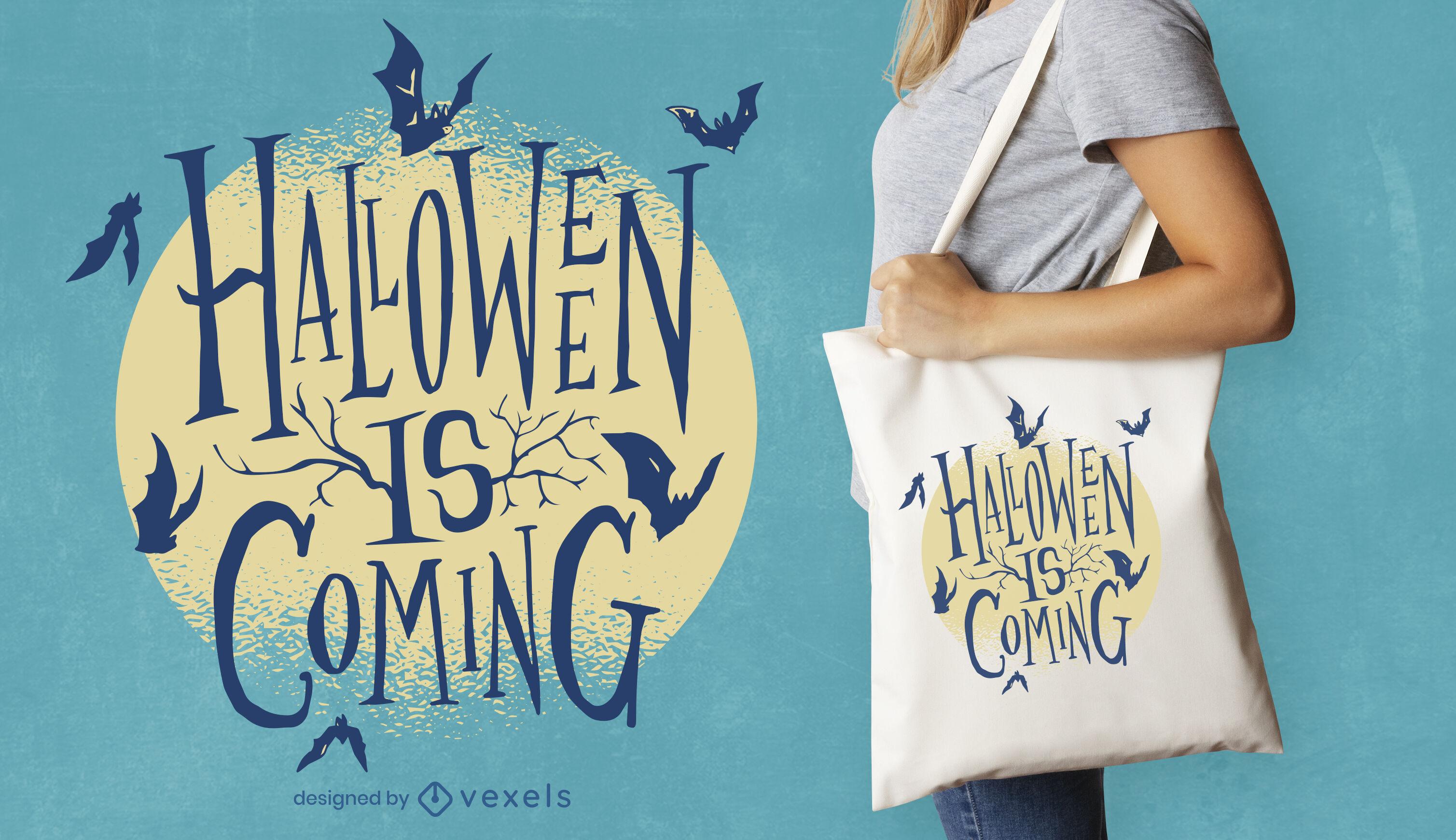 Halloween kommt Schriftzug Dekokissen