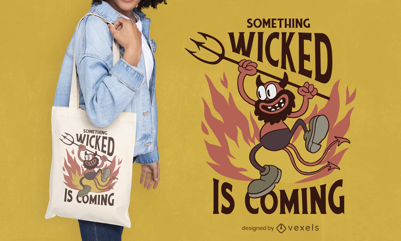 Diseño de bolsa de asas de diablo de dibujos animados retro de Halloween