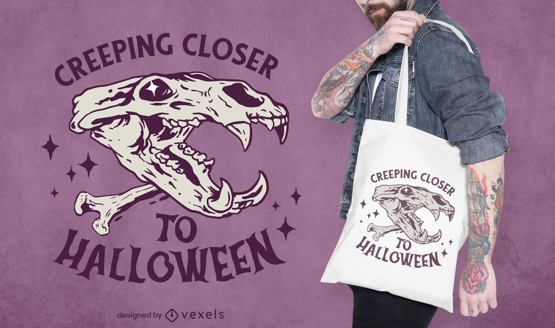 Halloween-Zitat-Tierschädel-Einkaufstasche