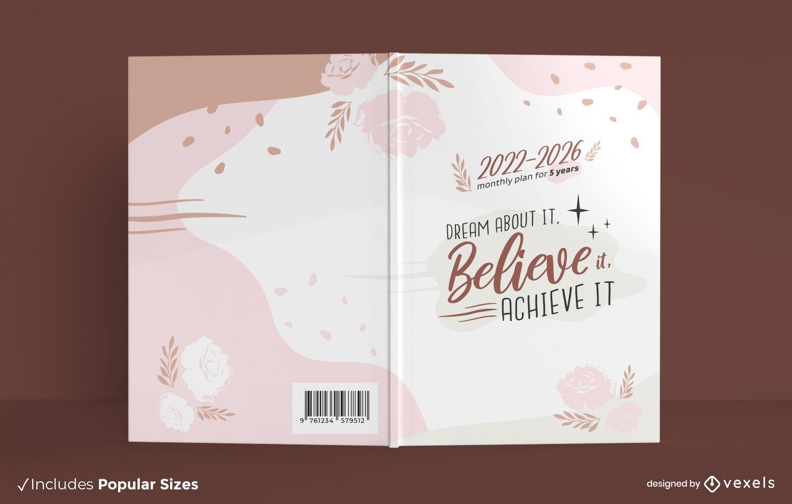 Diseño de portada de planificador mensual de cinco años