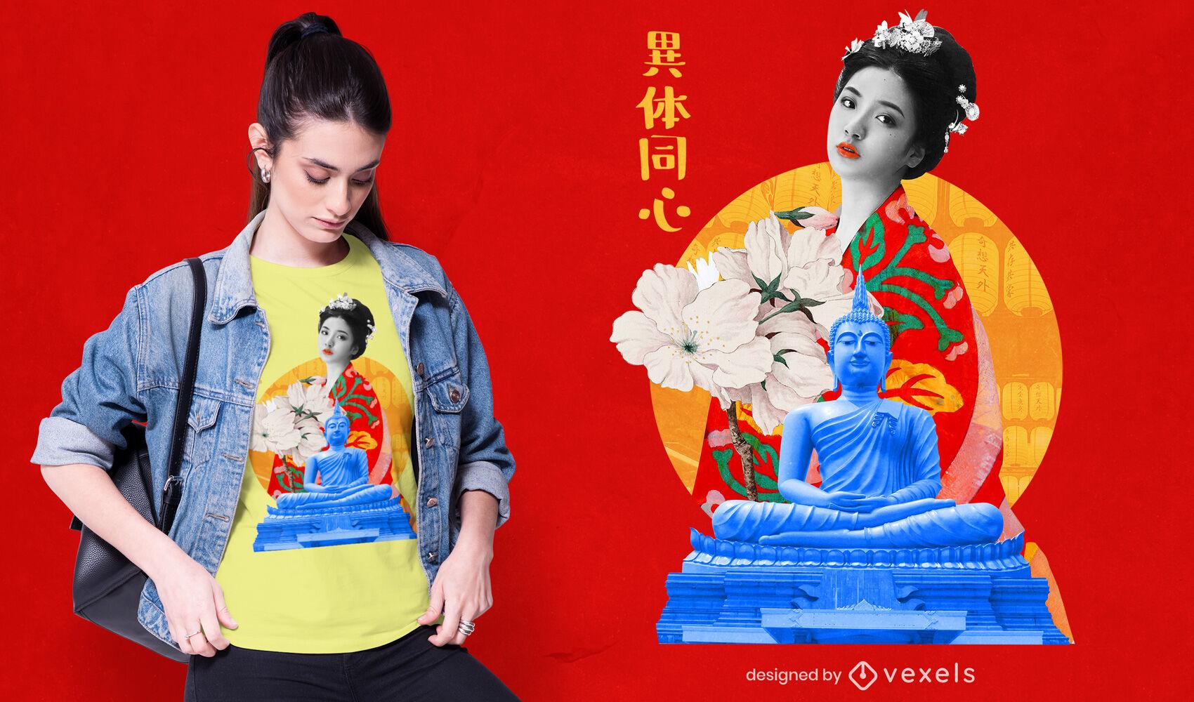 Camiseta psd chica collage japonesa