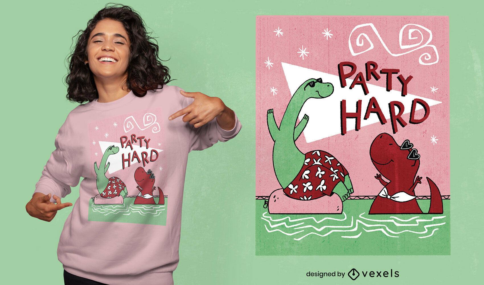 Diseño de camiseta psd de dinosaurios duros de fiesta