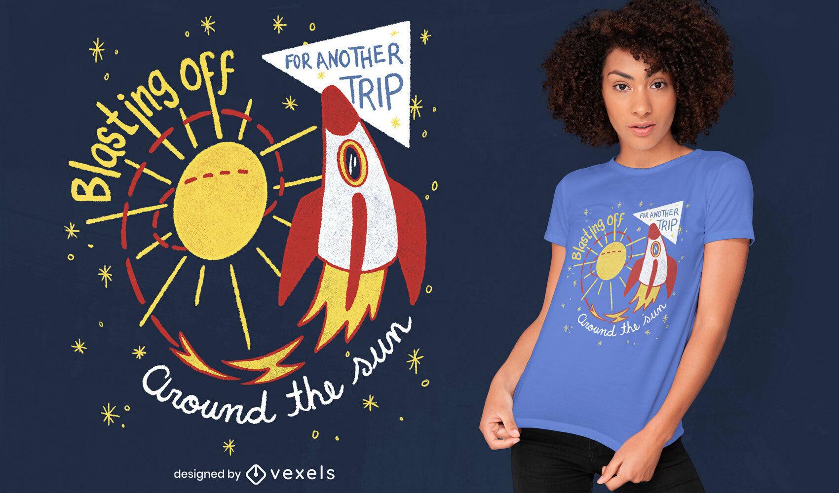 Rocket in the sun doodle diseño de camiseta psd