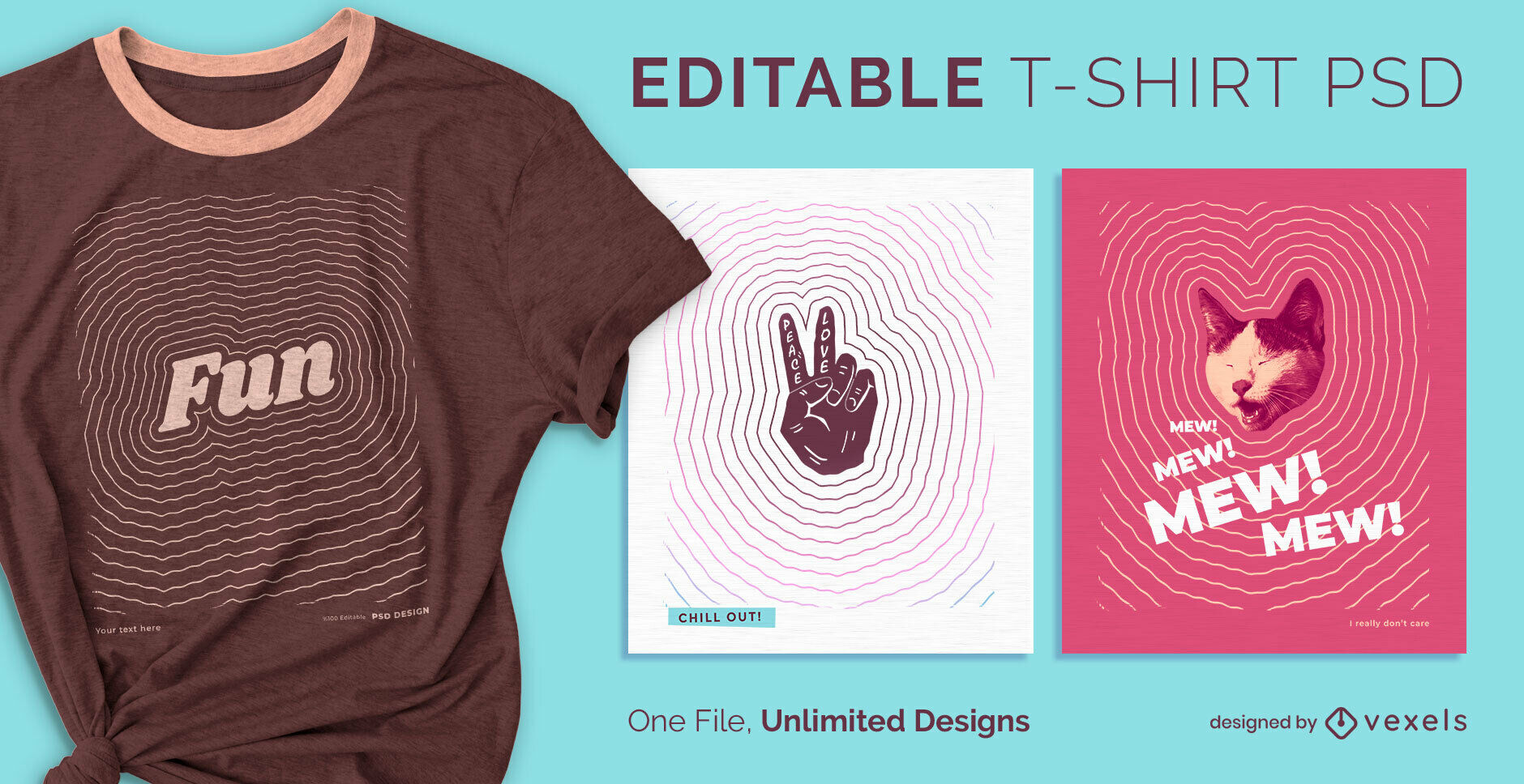 Stroke lines effect scalable psd t-shirt