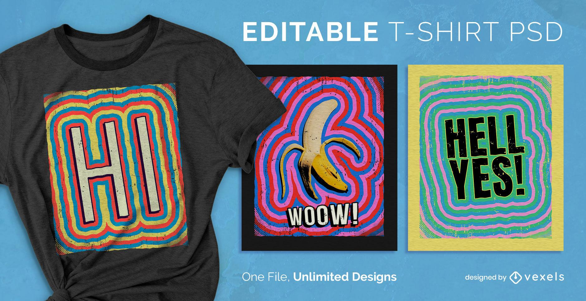 Bearbeitbares PSD-T-Shirt mit psychedelischem Farbstrich