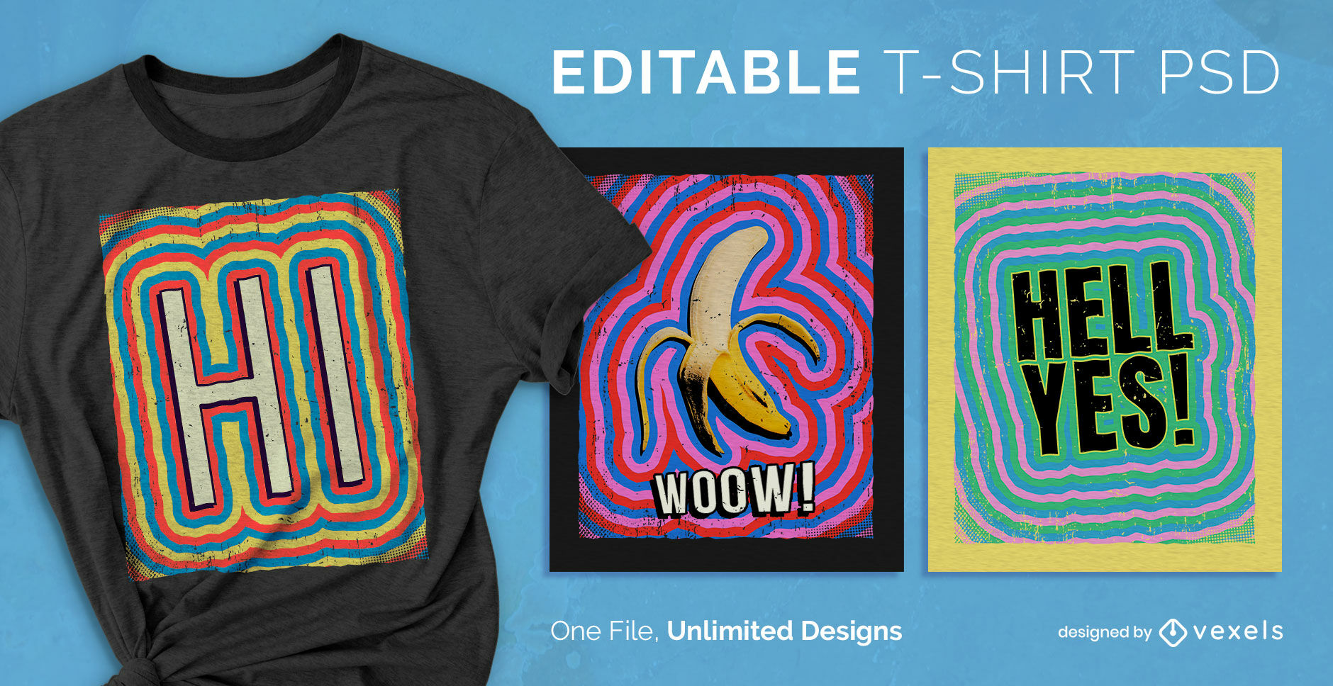 Camiseta psd editable con trazo de color psicod?lico