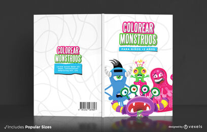 Cartoon monsters coloring book cover design