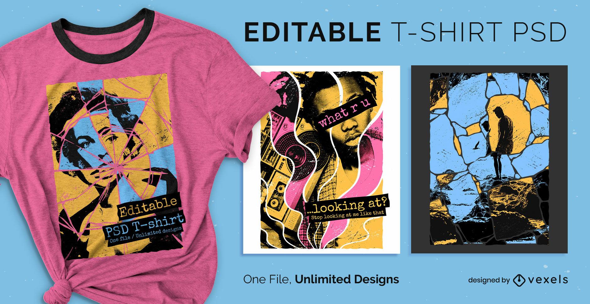 Broken glass pop art scalable t-shirt design