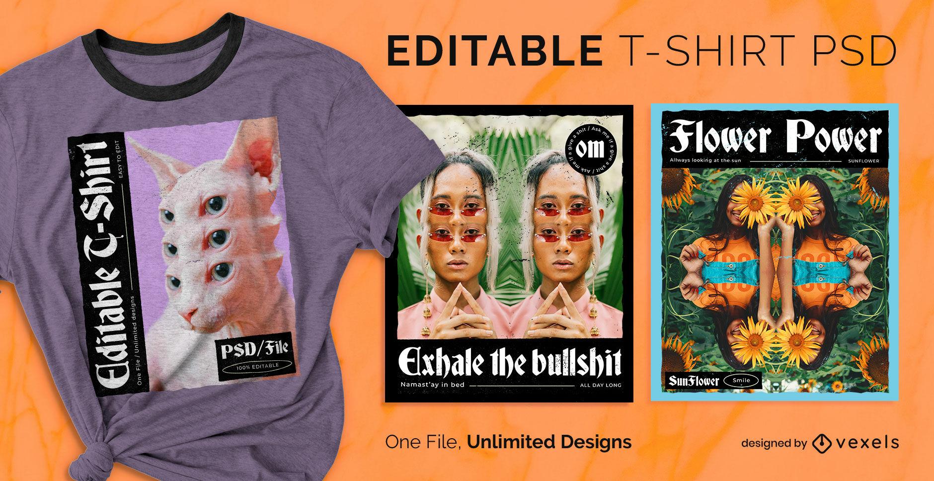 Camiseta psd escalable con imagen reflejada psicodélica