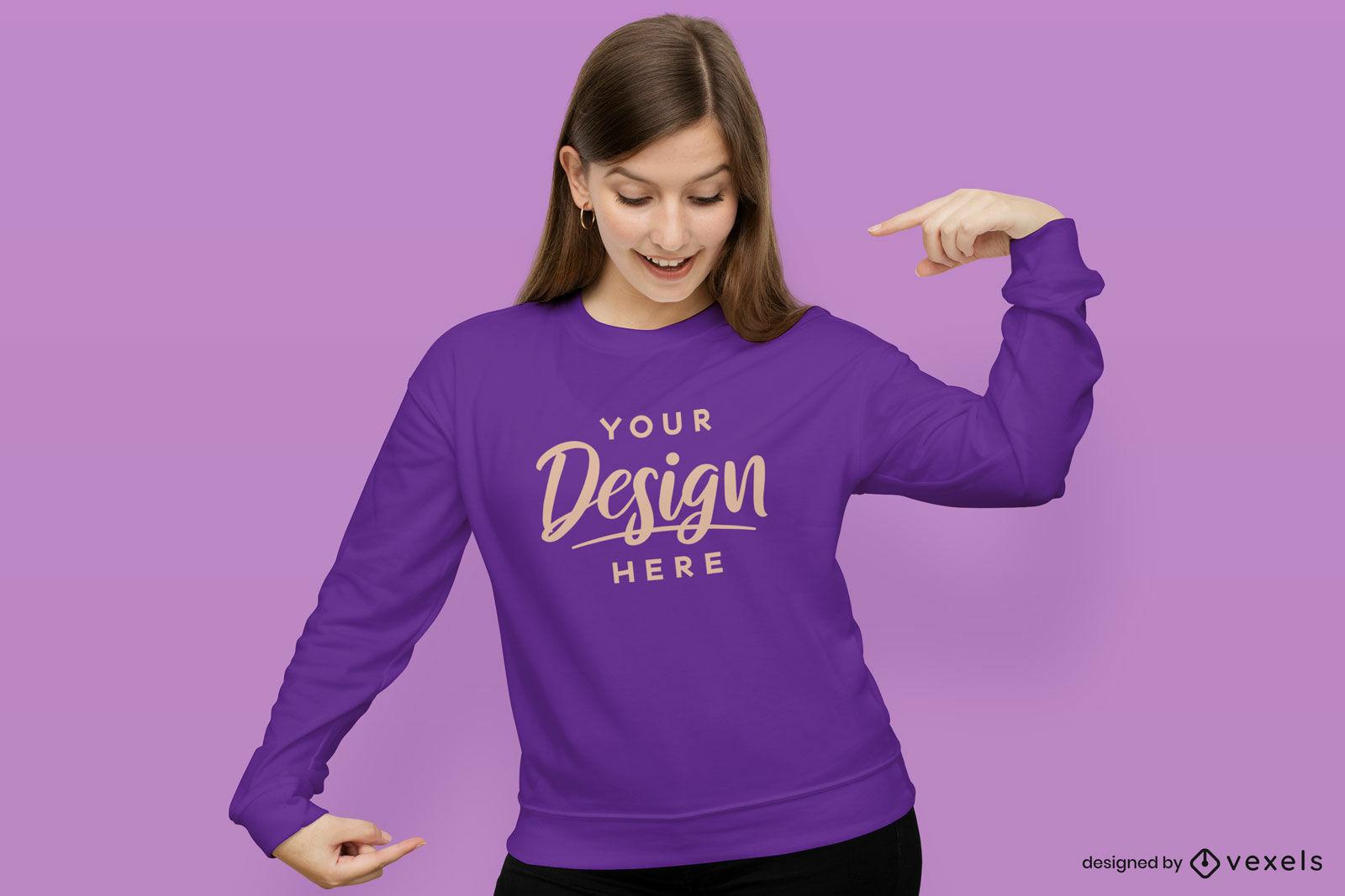 Girl in sweatshirt purple background mockup