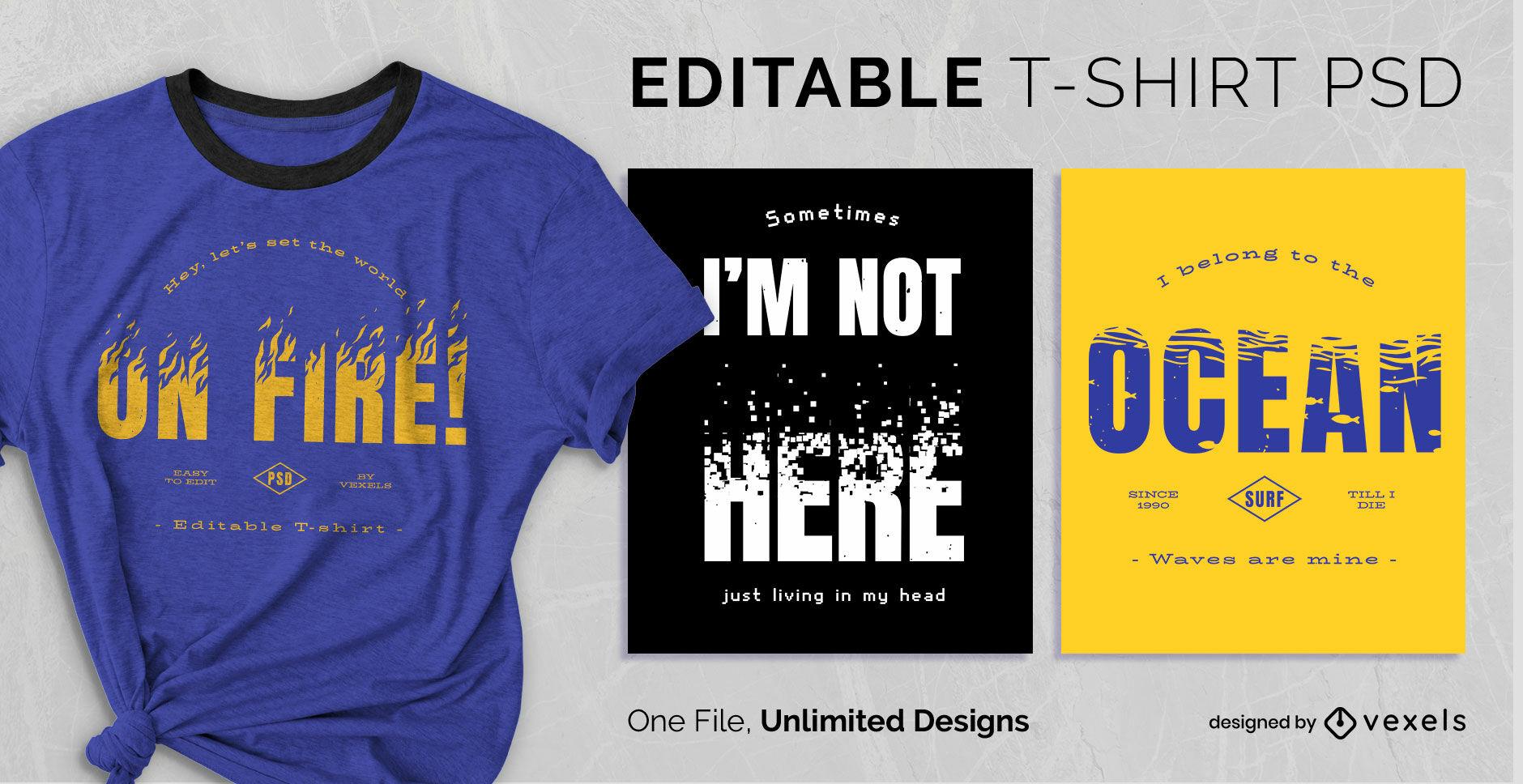 Skalierbares PSD-T-Shirt mit strukturiertem Zitat