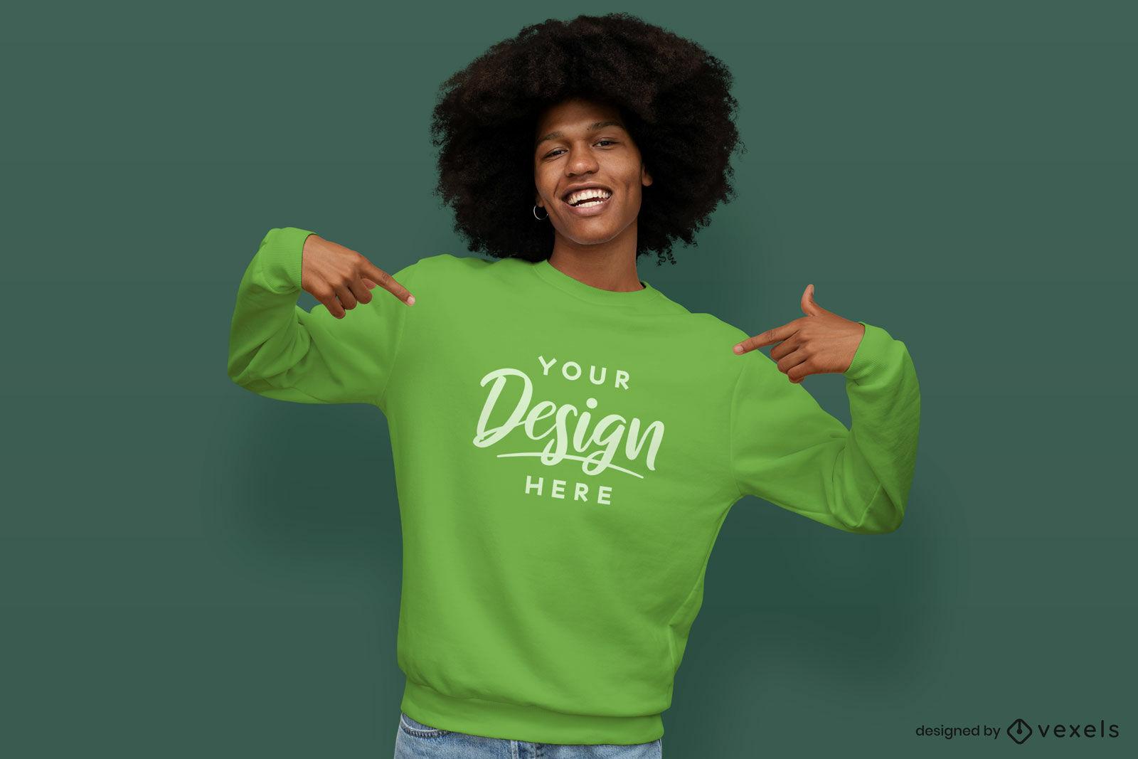 Green sweatshirt model mockup with green background
