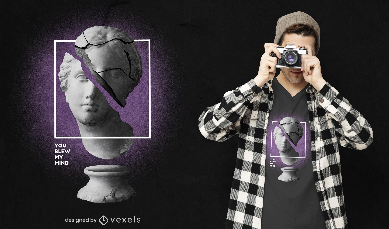 Glitch estatua cita diseño de camiseta PSD