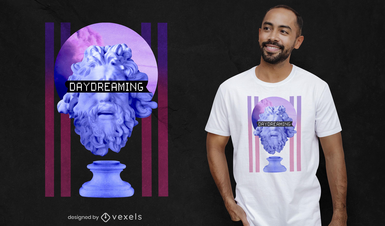 Diseño de camiseta psd de vaporwave de estatua de ensueño