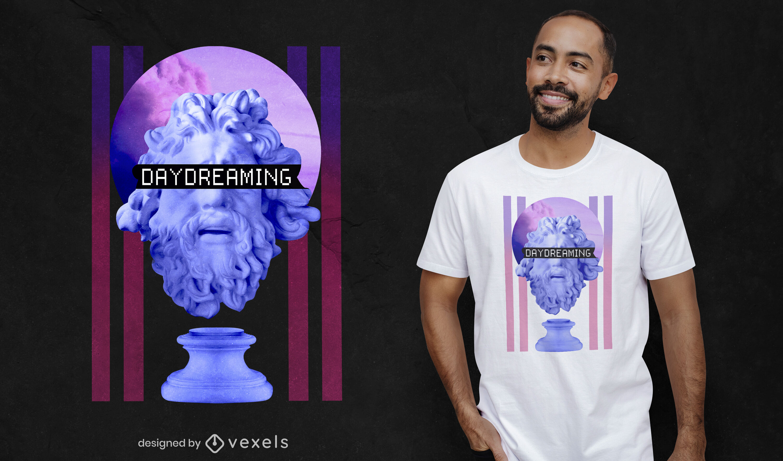 Tagträumende Statue Vaporwave PSD T-Shirt Design