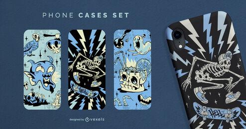 Monochromatic halloween phone case set