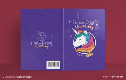 Unicorn creature coloring book cover design