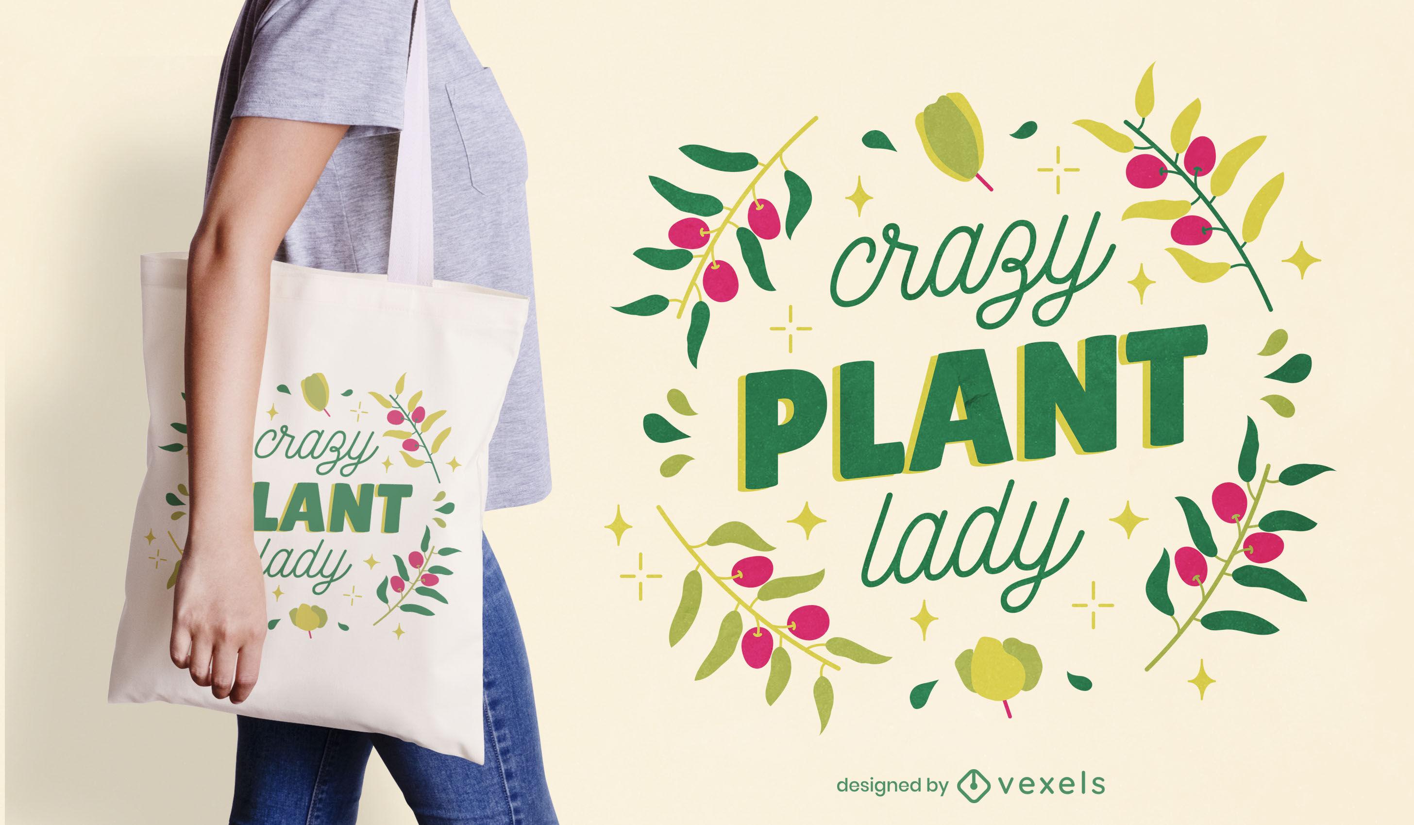 Diseño de bolso de mano con letras de señora loca de la planta