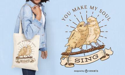Birds couple illustration tote bag design
