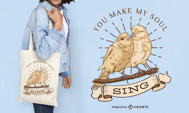 Diseño de bolsa de asas de ilustración de pareja de pájaros