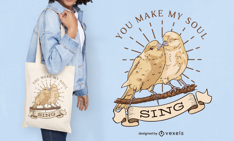Vogelpaar Illustration Einkaufstasche Design