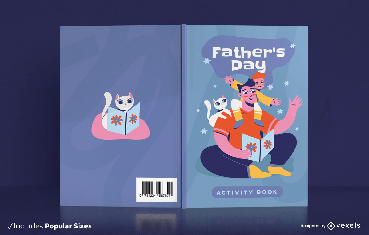 Fathers day happy family book cover design
