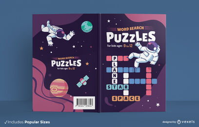 Diseño de portada de libro de rompecabezas de búsqueda de palabras espaciales
