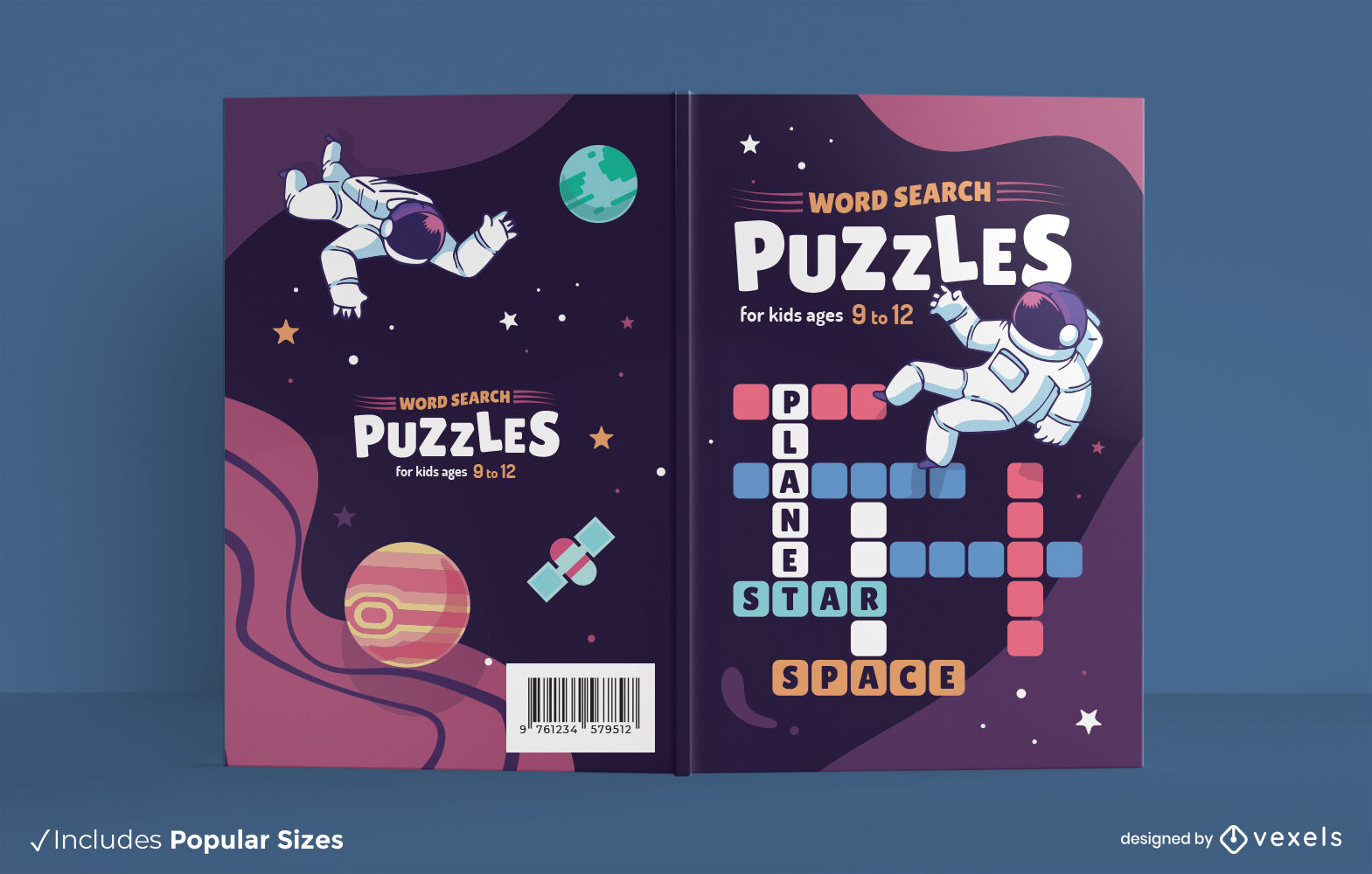Space word seach puzzles book cover design