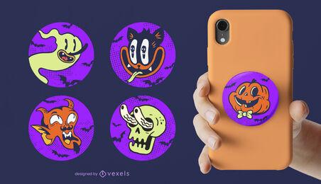 Halloween retro cartoon characters popsockets