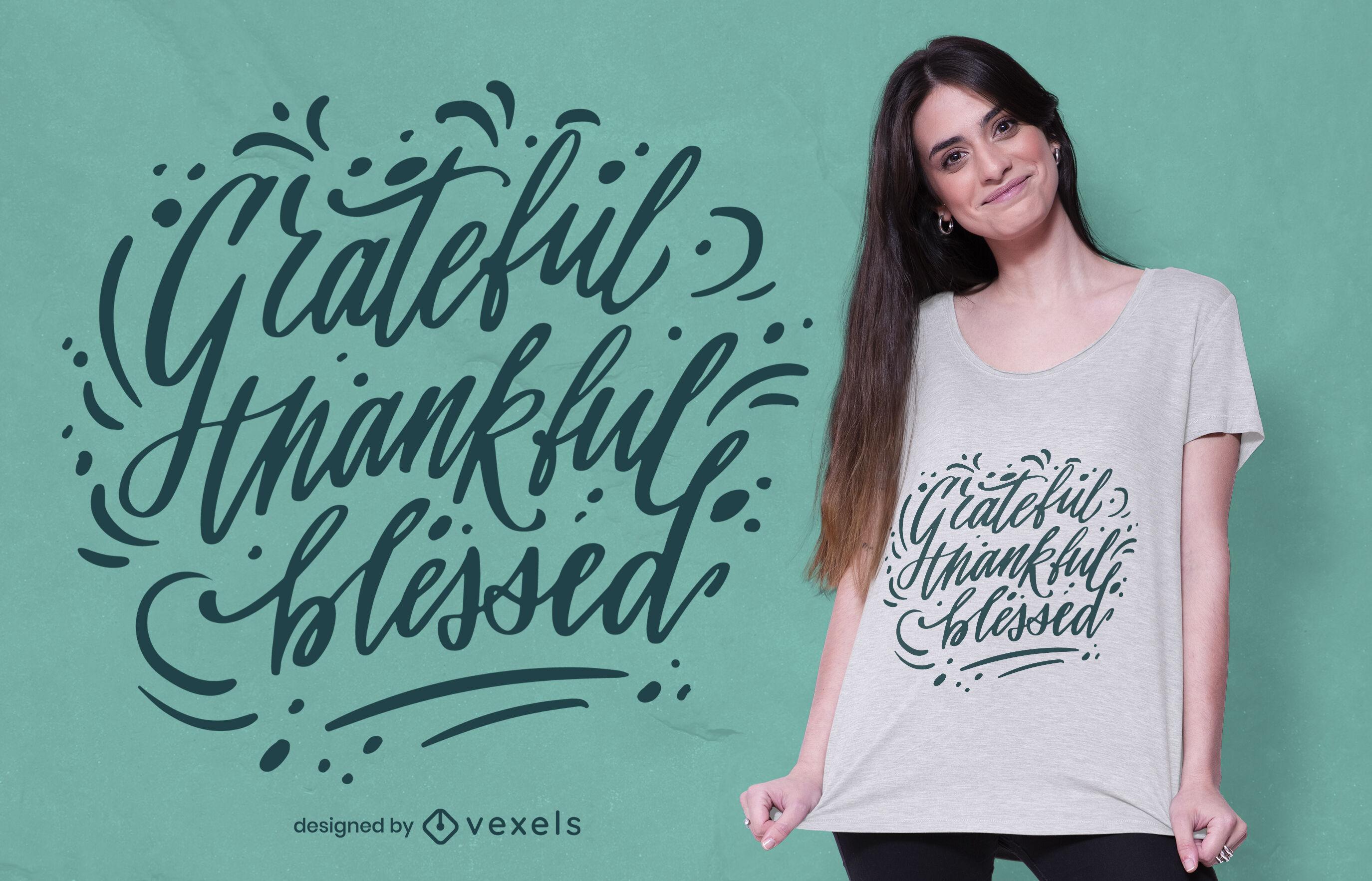 Diseño de camiseta de letras agradecidas de acción de gracias