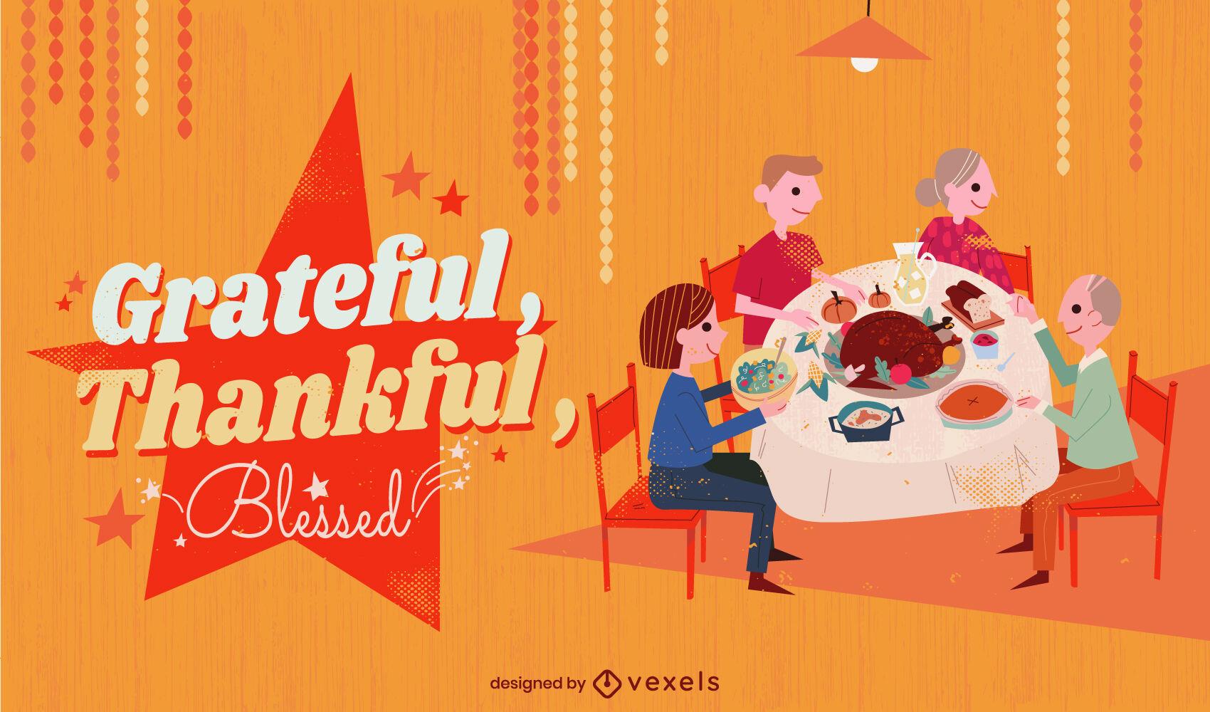 Thanksgiving family reunion illustration