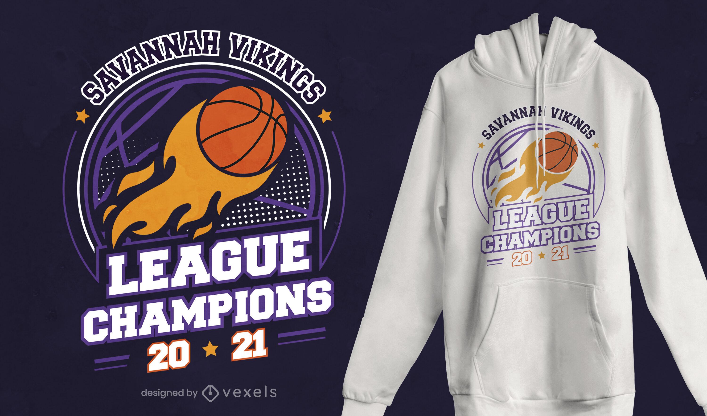 Diseño de camiseta de campeón de la liga de baloncesto.