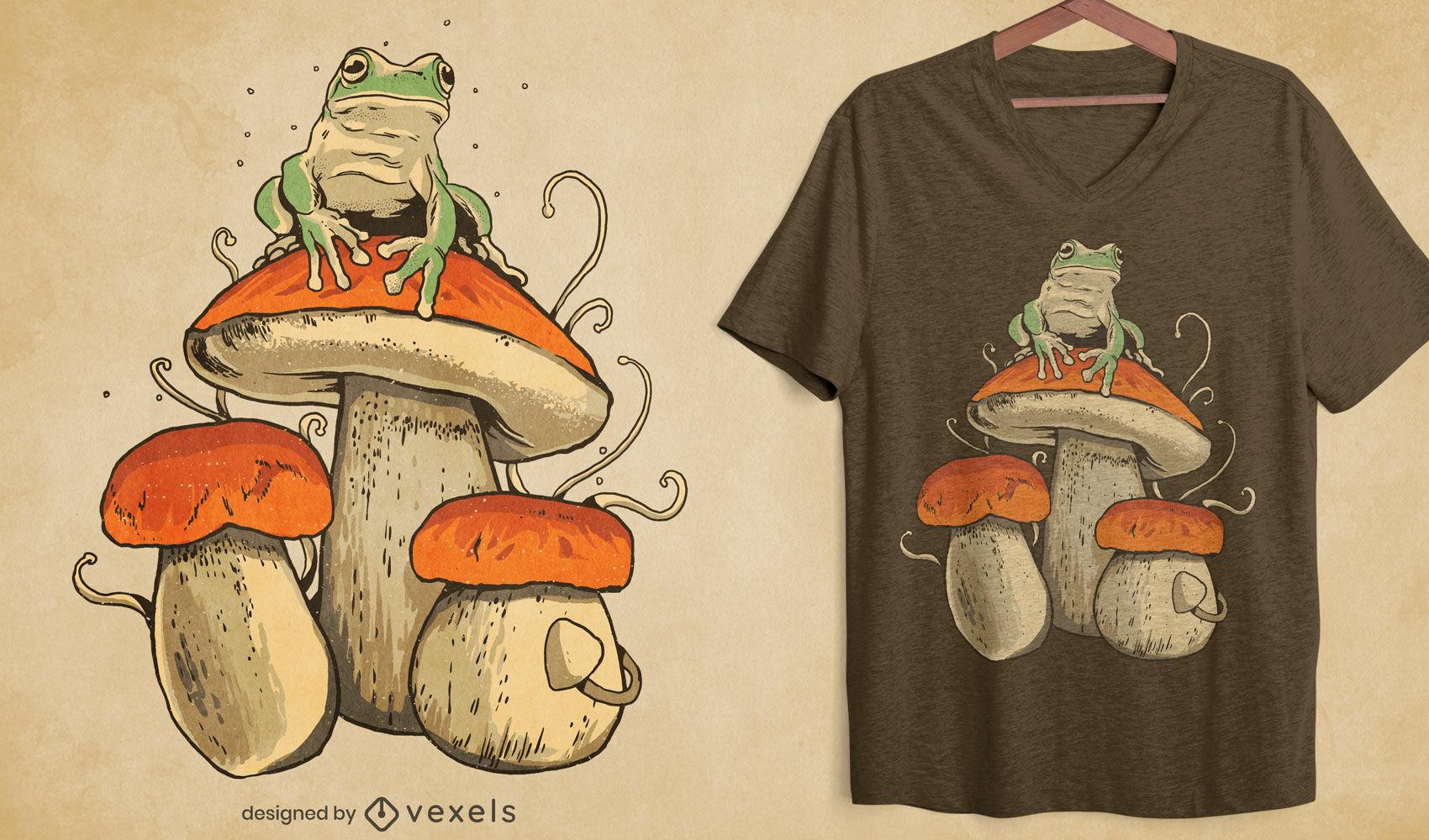 Design de t-shirt de sapo em cogumelo