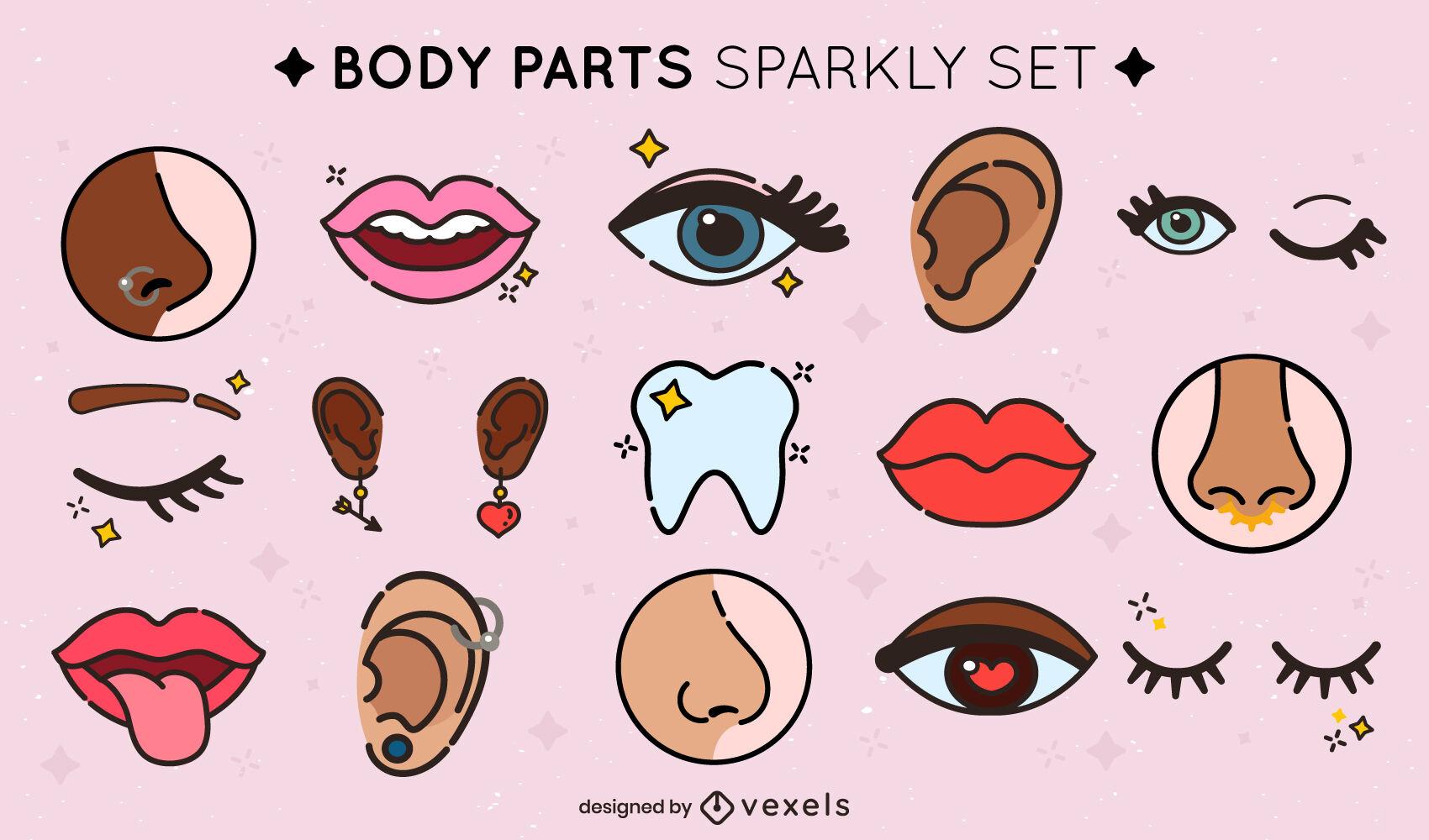 Conjunto de traços coloridos de peças de rosto brilhantes
