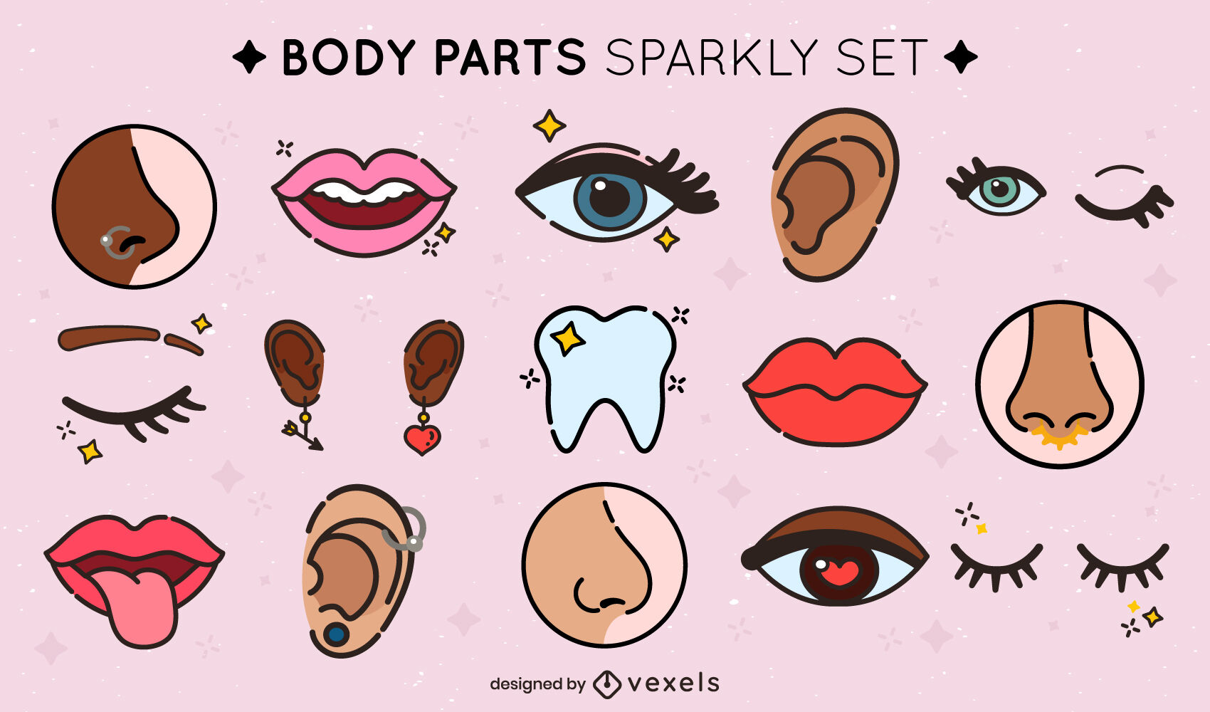 Sparkly face parts color stroke set