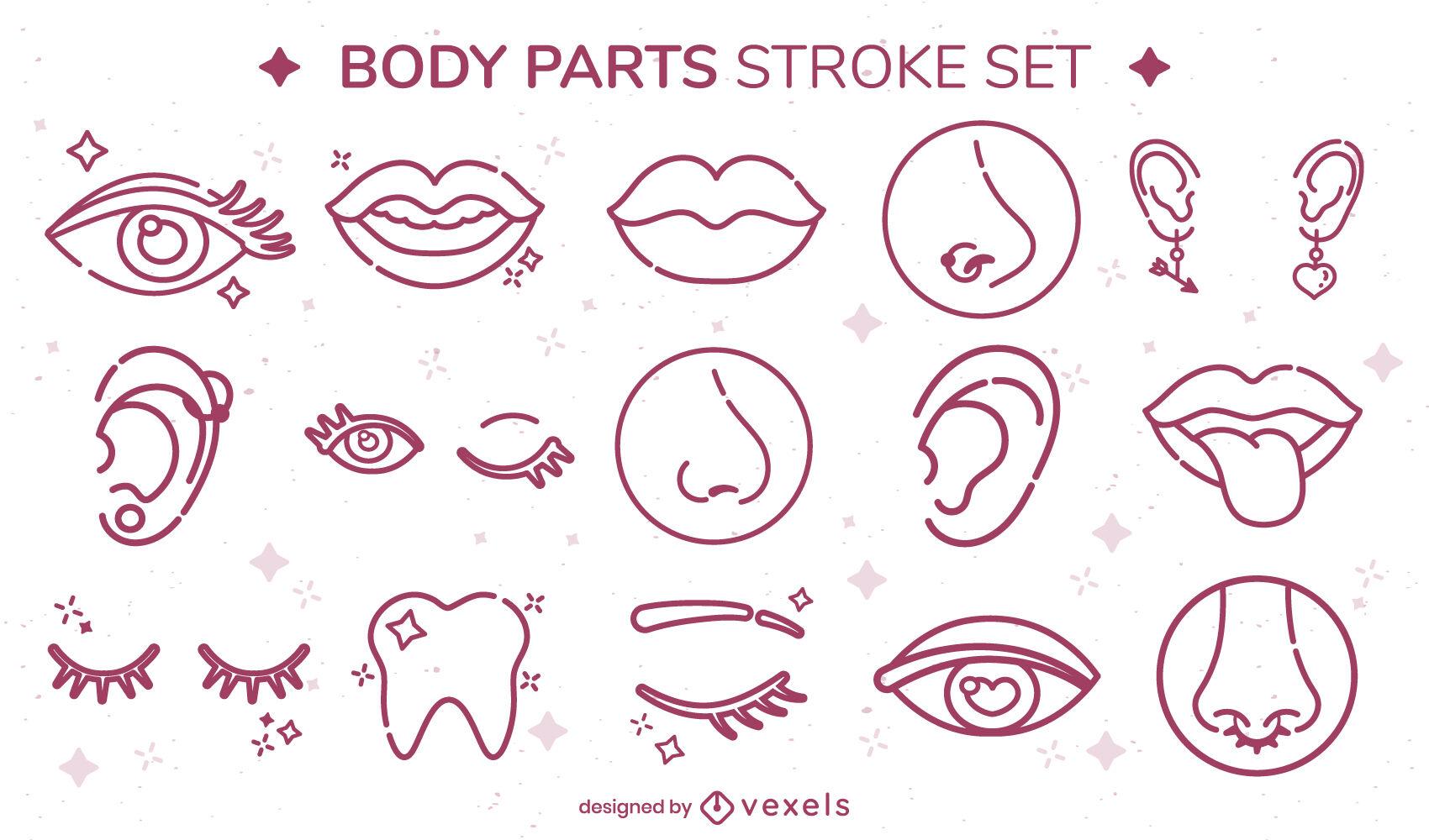 Sparkly face parts stroke set