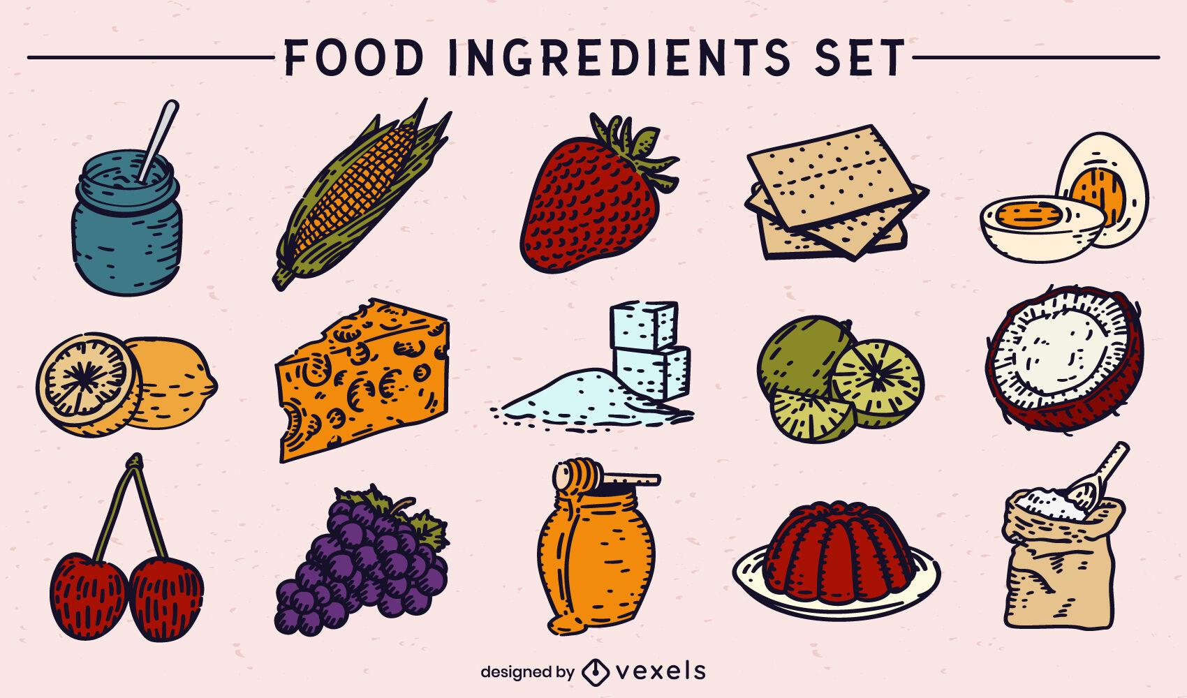 Conjunto de elementos e ingredientes alimentarios.