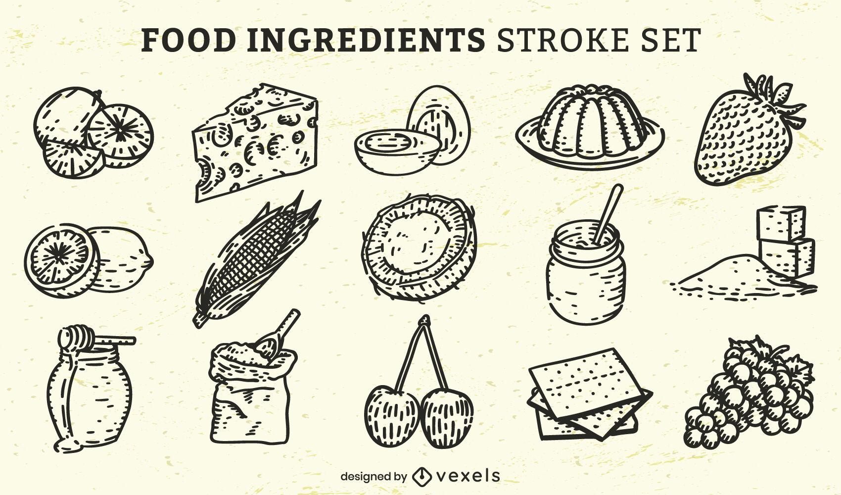 Conjunto de elementos e ingredientes alimentarios dibujados a mano