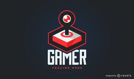 Plantilla de logotipo 3D de joystick para juegos