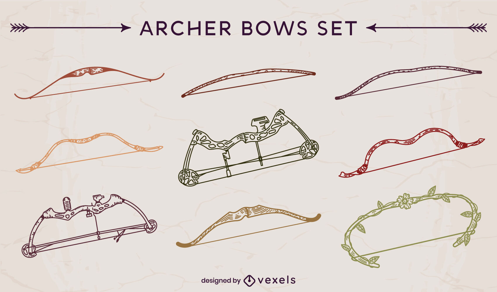Conjunto de trazos de arcos de arquero