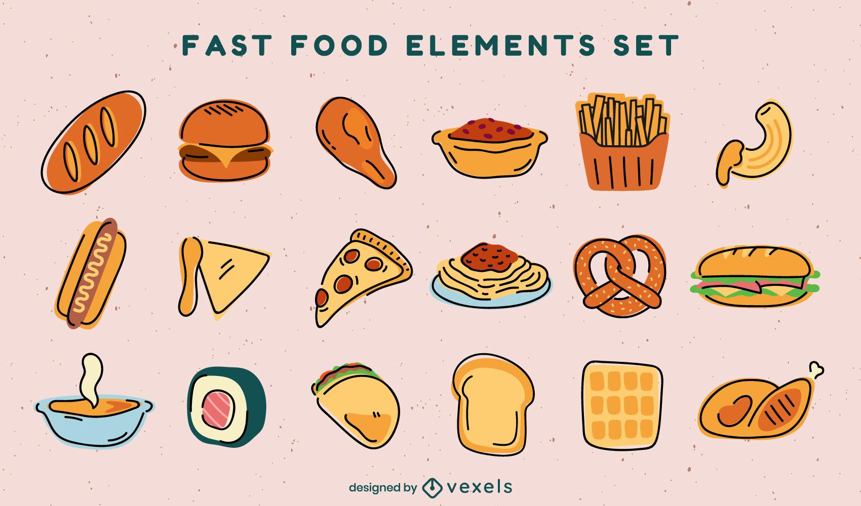 Set of fast food color stroke elements