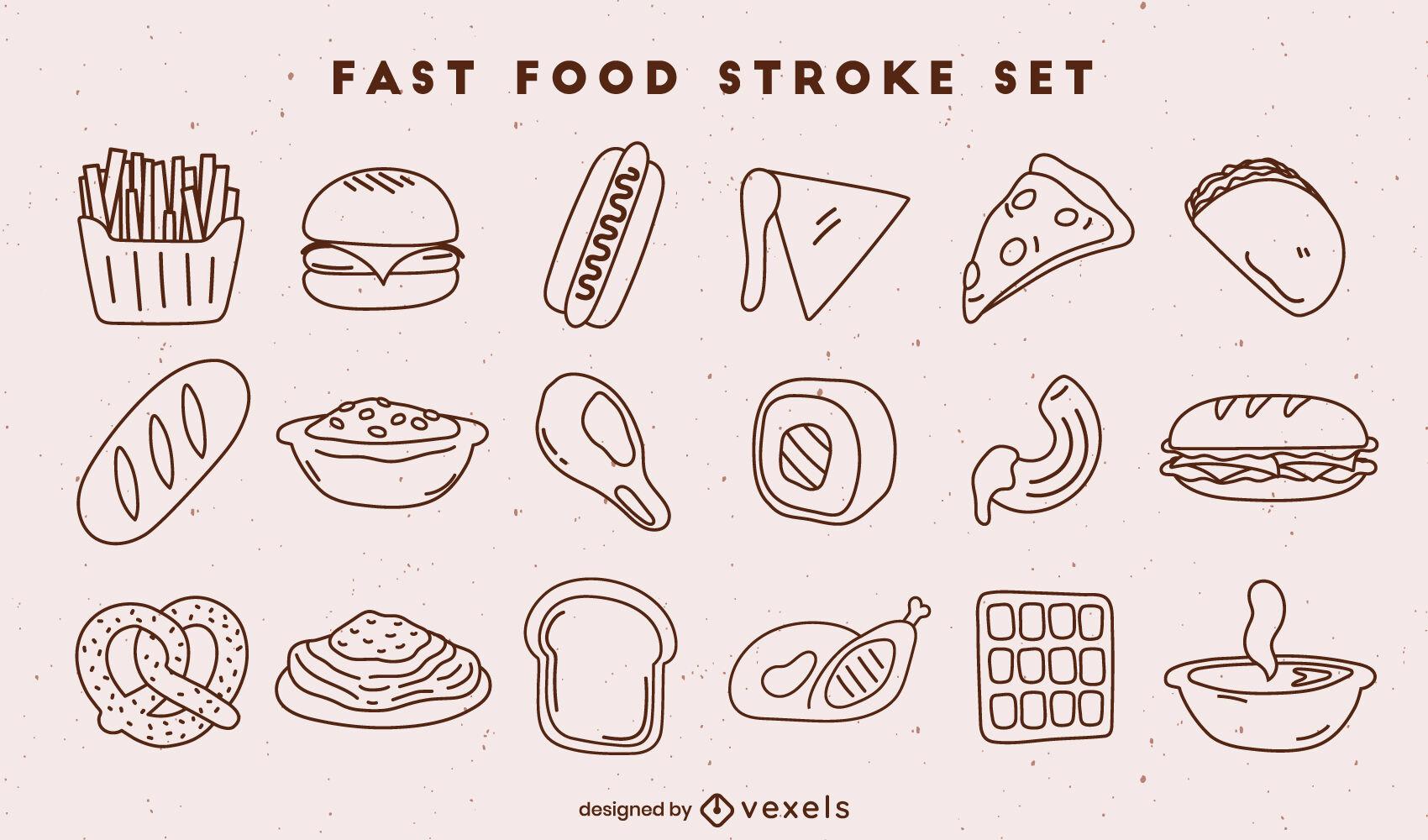 Conjunto de elementos de trazo de comida rápida