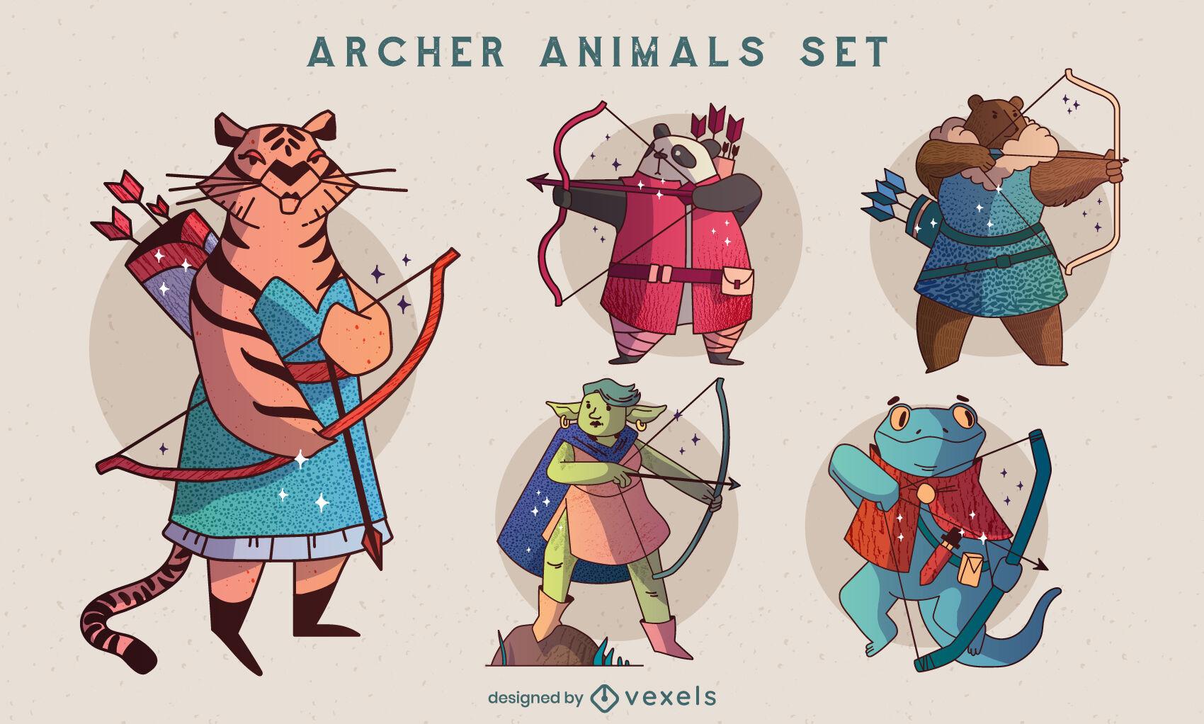 Archery animal characters illustration set