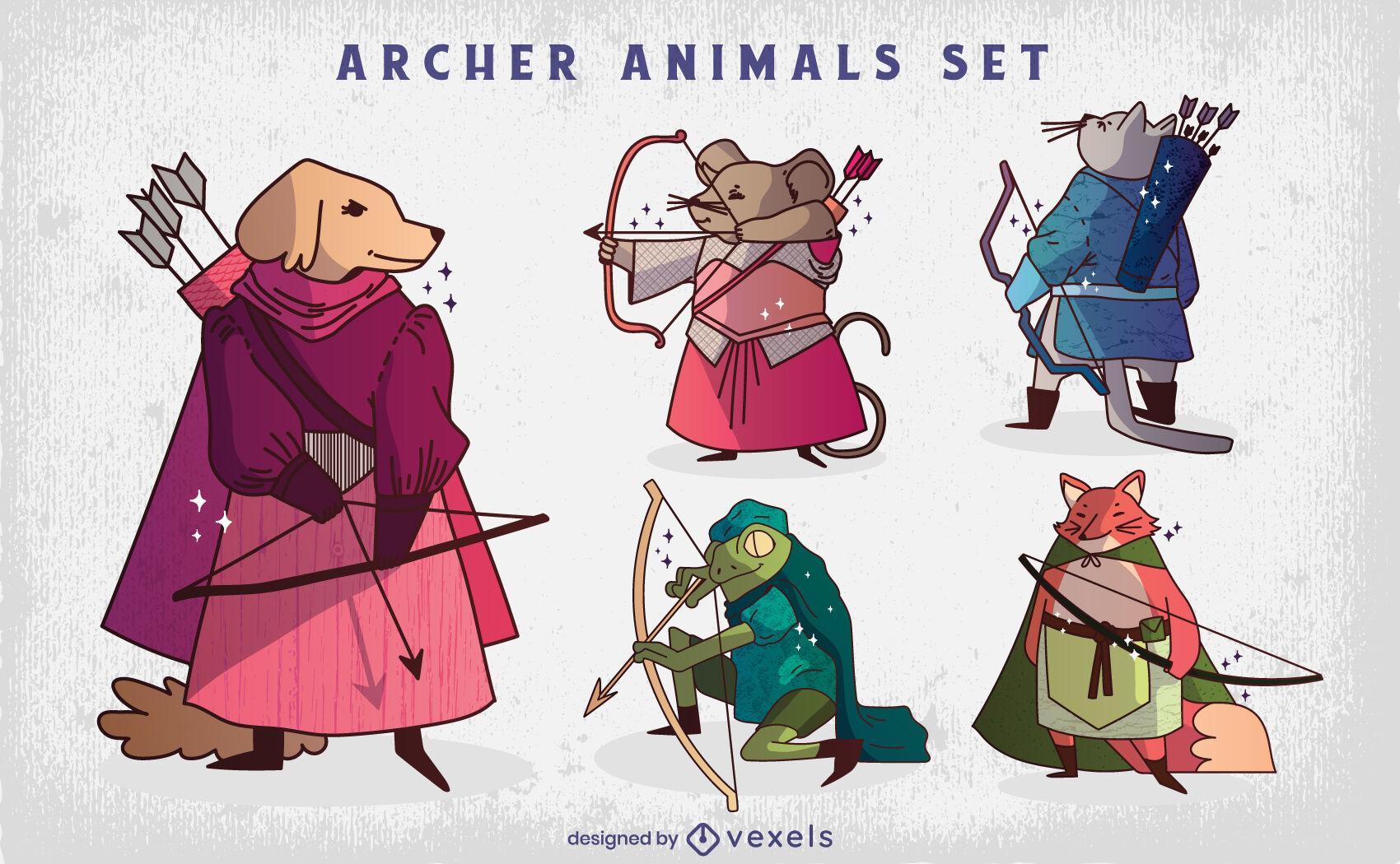 Conjunto de ilustración de personajes de animales de tiro con arco