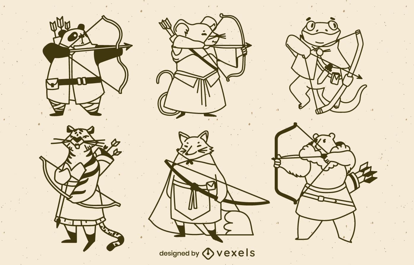 Archery animal characters stroke set